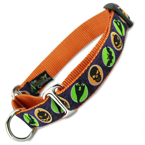 Halloween Martingale dog Collar, Orange, Limited Slip Safety Collar