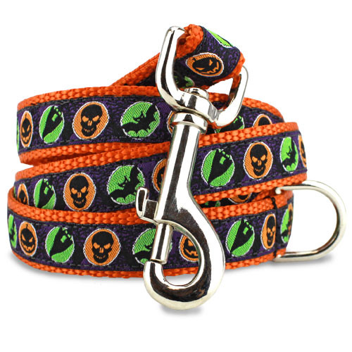 Halloween Dog Leash, Bats & Ghosts, 4', 5', 6' Long, D-ring, Nylon, Orange