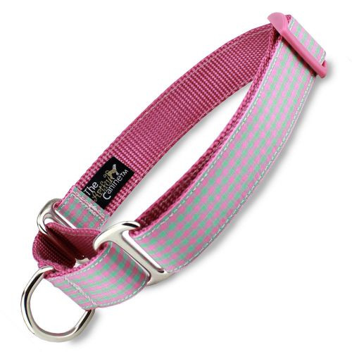 Gingham Martingale Dog Collar, Pink Nylon, Limited Slip Dog Collar, Safety Collar