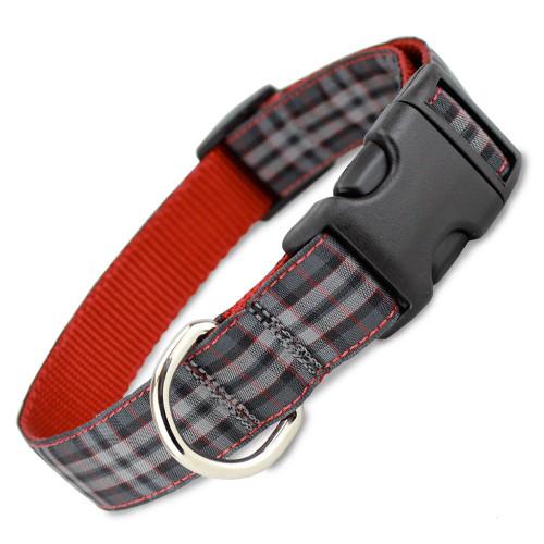 Plaid Dog Collar, Pride of Scotland Tartan, Quick Release, Grey