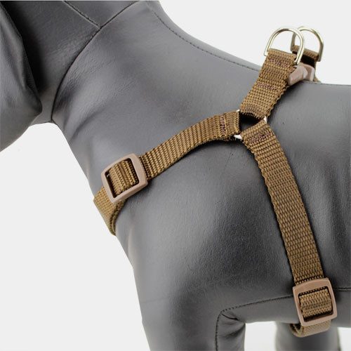 brown step in dog harness, adjustable, nylon