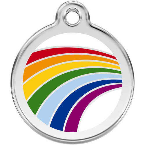 Rainbow Dog ID Tag, Enamel Stainless Steel Name Tag
