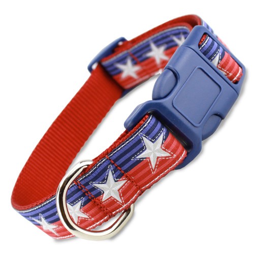 Patriotic Dog Collar, Stars & Stripes Red, White & Blue, Adjustable