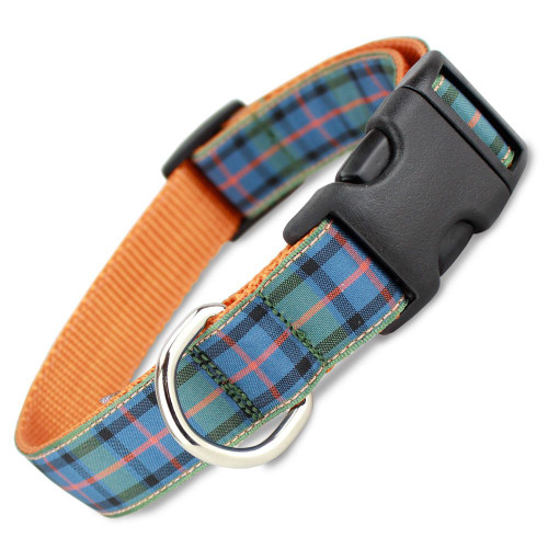Plaid Dog Collar, Flower of Scotland Tartan, Quick Release Collar