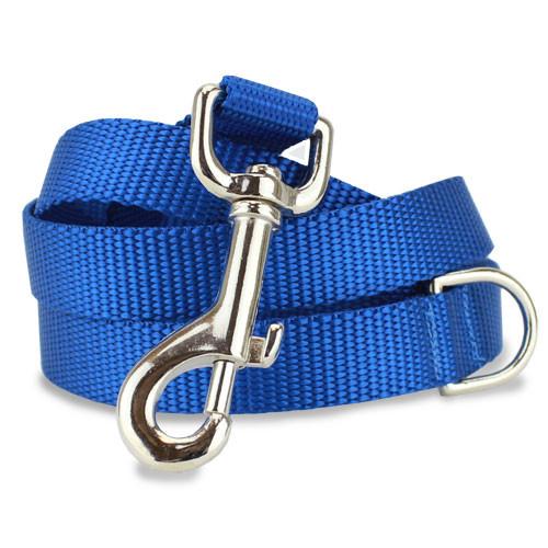 Blue Dog Leash, 4', 5', 6' Long, D-ring, Nylon
