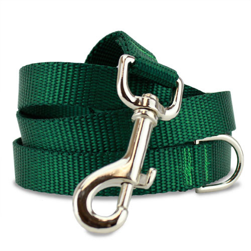 Green Dog Leash, 4', 5' 6' long lengths, D-ring, NYlon