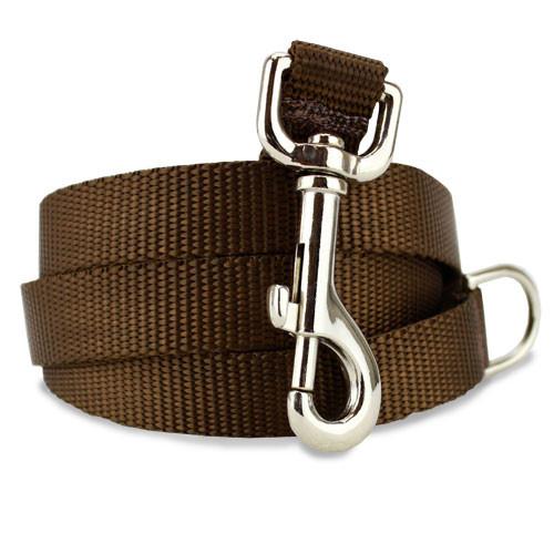 Brown Dog Leash, 4', 5', 6' Long, D-ring, Nylon