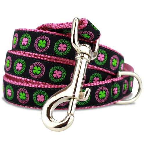 Irish Celtic Dog Leash, Clover & Celtic Knots, 4', 5', 6' Long, D-ring, Nylon