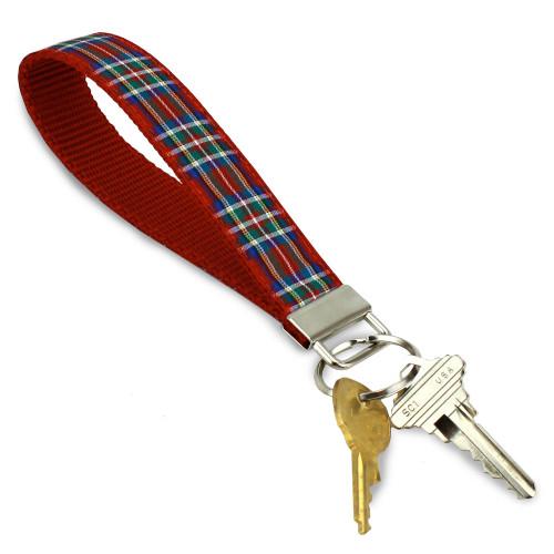 Scottish Plaid Key Ring Keychain Wristlet