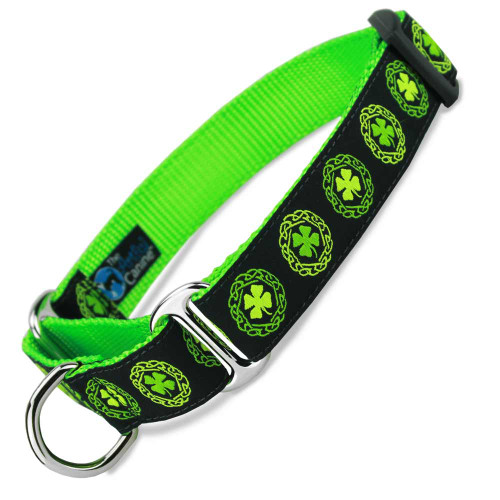 Irish Martingale dog Collar, Celtic Clover, Limited Slip Safety Collar