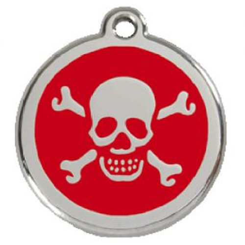 Skull Dog ID Tag, Red