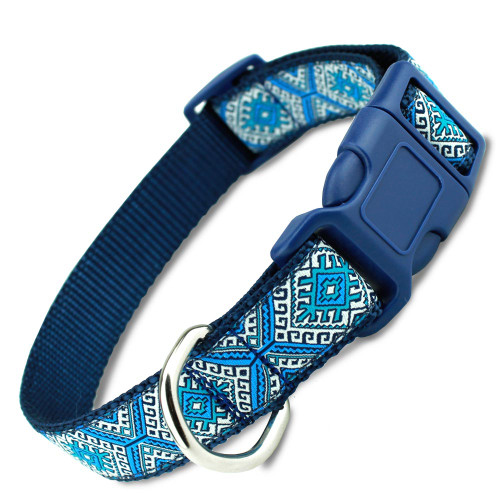 Blue Aztec Dog Collar, tribal, Greek key design with Quick Release Buckle