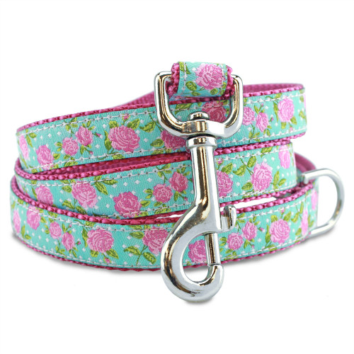 Pink Roses Floral Dog Leash, Flowers, Shabby Chic Design