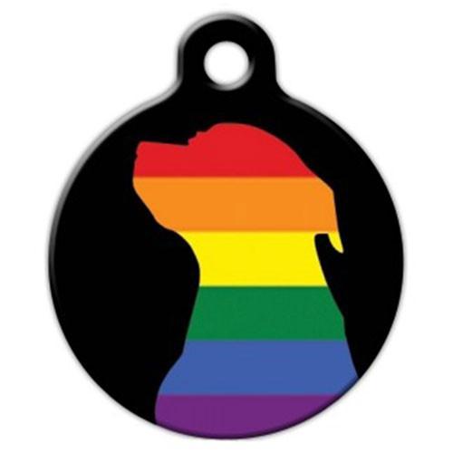 Pit Bull Pride Dog ID Tag, Rainbow Silhouette