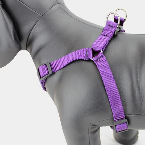 Purple Dog Harness, Choke-Free, Adjustable, Nylon Step-in Style