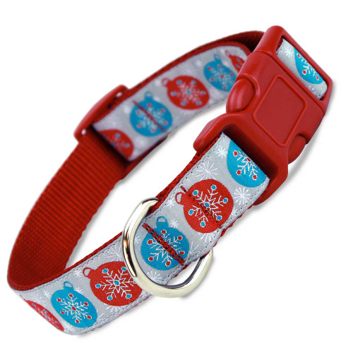 Christmas Dog Collar with Snowflakes, Quick Release Snap On Style Buckle, Red, Blue, Silver, holiday