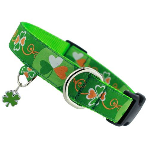 St. Patricks Day Dog Collar with Charm, Quick Release Snap On Style Buckle, Shamrocks & Clover, Irish, Ireland, green, white, orange