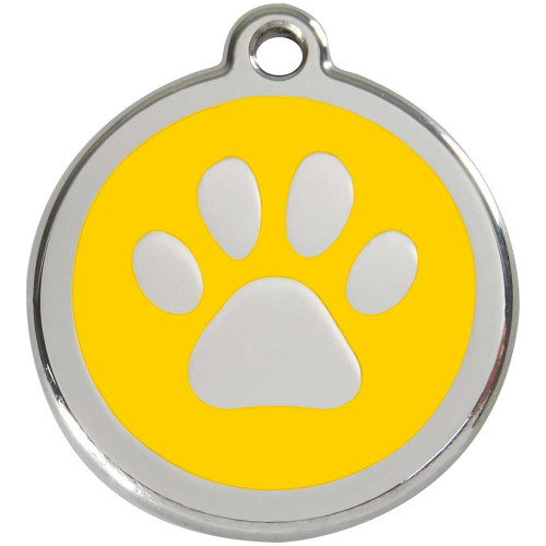 Yellow dog id tag, paw print, stainless steel enameled