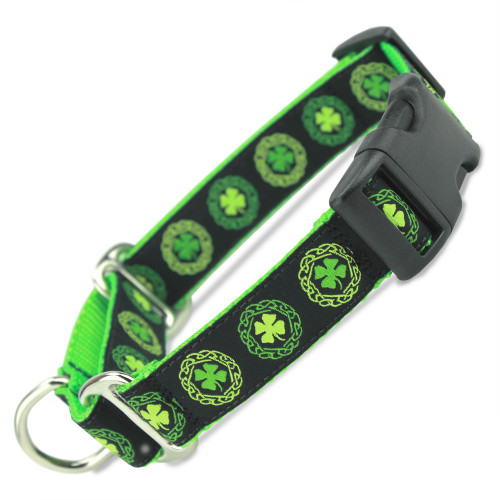 Buckle Martingale Collar, Irish Celtic, Green Limited Slip Safety Collar, Ireland, lime, green, shamrock, Celtic knot