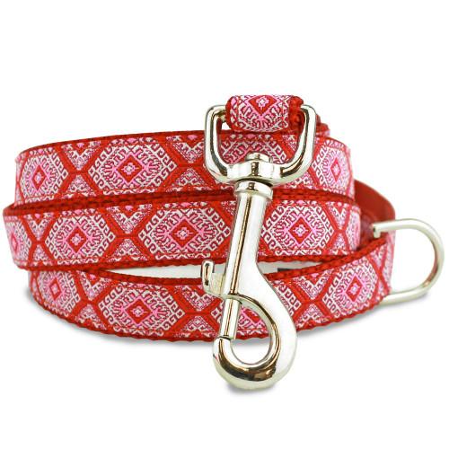 Red Aztec 5' Dog Leash, Greek Key, geometric, Tribal Design, red, pink, white