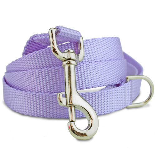 Lavender Nylon Dog Leash, solid purple dog leash, 4', 5', 6'
