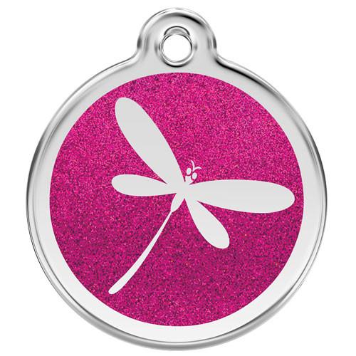 Hot Pink Glitter Dragonfly Dog ID Tag, Steel & Enamel, Engraved