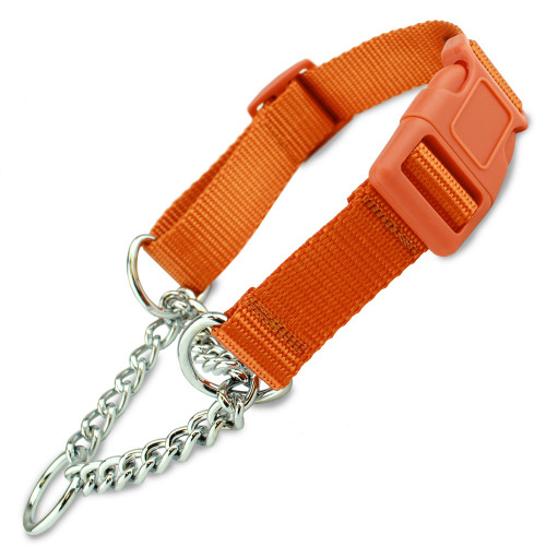 Martingale Dog Collar w/Chain Loop & Buckle, Half-Check Style, Orange