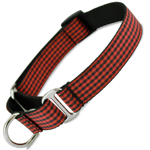 Buffalo Plaid Dog Collar, Red & Black Flannel Check