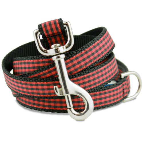 Buffalo Plaid Dog Leash, Red & Black gingham, classic flannel check