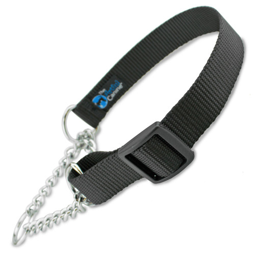 Martingale Dog Collar with Chain Loop (Half-Check) Black Nylon