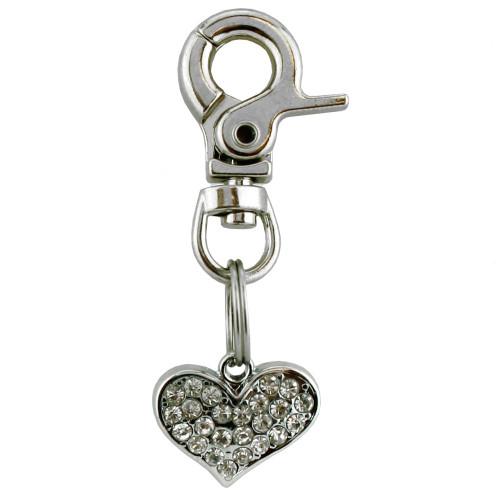 Heart Dog Charm, Crystal, Rhinestone, Bling
