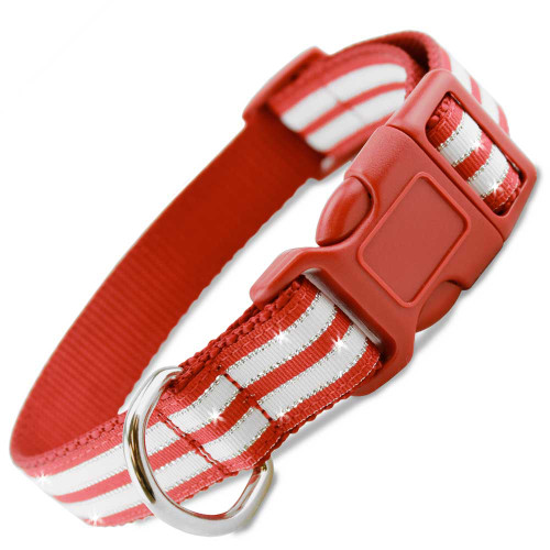 Christmas Dog Collar, candy stripes, peppermint bling, red white and metallic silver