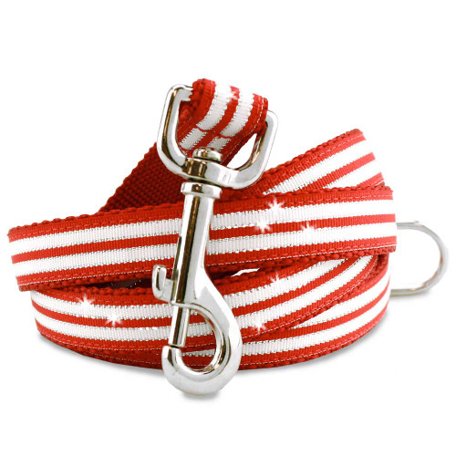 Holiday Dog Leash, Peppermint Bling Stripes, red white and metallic silver
