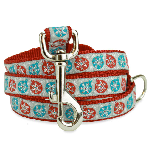 Holiday, Christmas dog leash, snowflakes, ornaments, red blue and silver