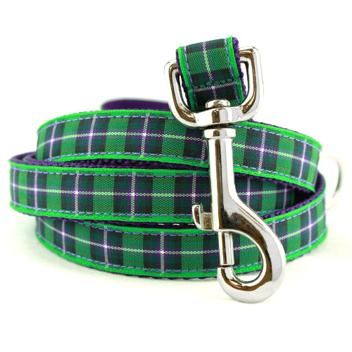 Purple and Green plaid dog leash, 5 foot long