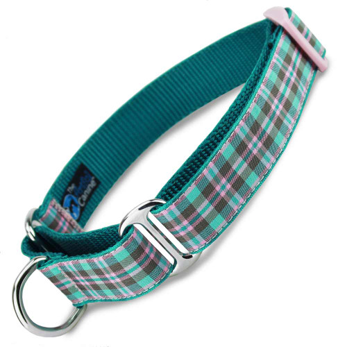 Teal Martingale Dog Collar, Preppy Puppy Plaid martingale collar, Pink adjuster, pink and brown
