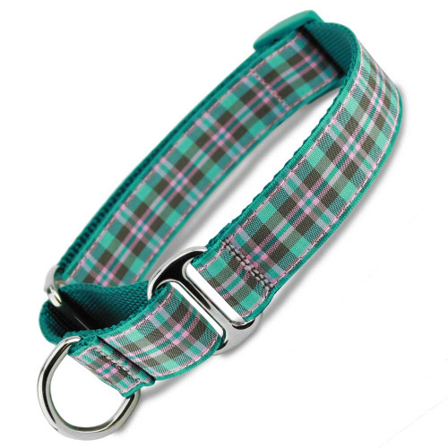 Teal Martingale Collar, Preppy Puppy Plaid martingale collar, spring martingale collar, teal pink and brown