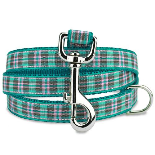 Preppy Puppy Dog Leash, teal plaid dog leash
