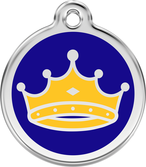Crown King Prince Dog ID Tag, Blue & Yellow enameling, stainless steel name tag