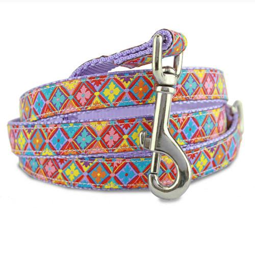 spring floral geometric designer dog leash. colorful