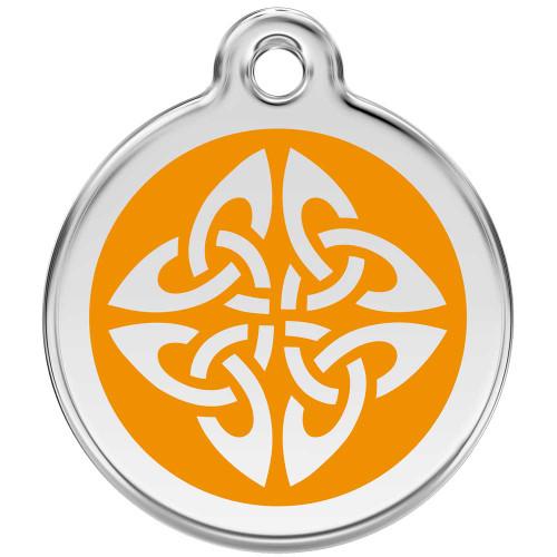 Tribal Dog ID Tag, Orange Enameling, Stainless Steel Name Tag