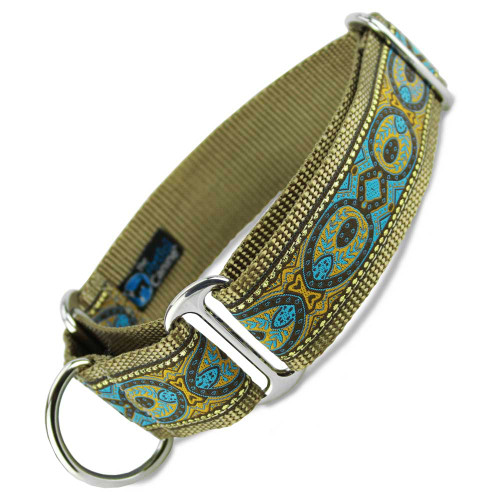"Brocade Martingale Collar, 1.5"" Wide, blue and tan, metallic gold"