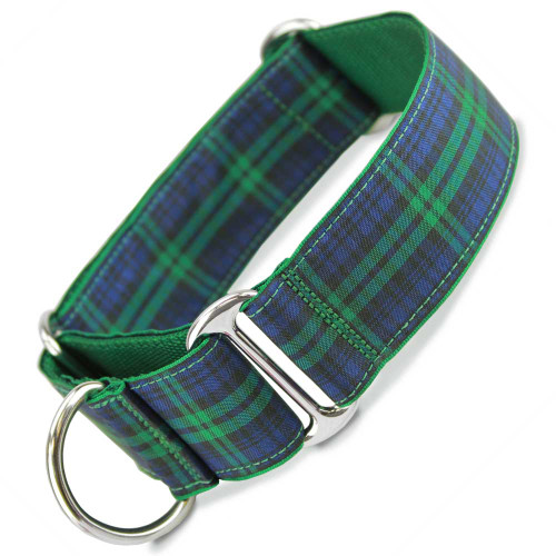 "1.5"" Wide Martingale Collar, Blackwatch Tartan, Navy blue and green plaid"