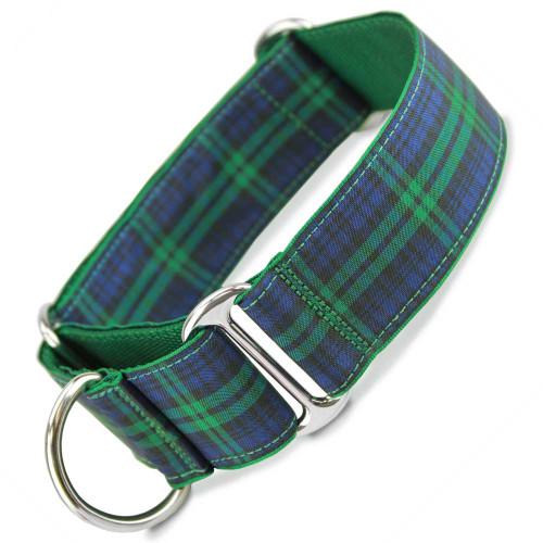 "1.5"" Wide Martingale Collar, Blackwatch Tartan, Navy blue and green plaid"