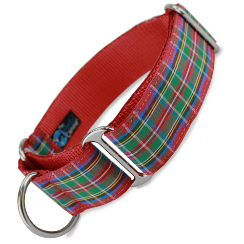 "1.5"" Wide Martingale Collar, Scottish Plaid, Royal Stewart Tartan"