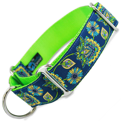 "1.5"" Wide Martingale collar in blue floral print"