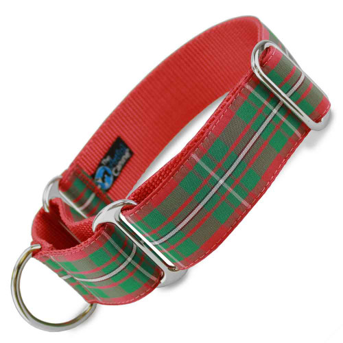 """1.5"""" Wide Holiday Plaid Martingale Collar, Magregor tartan, Christmas, red and green plaid"""