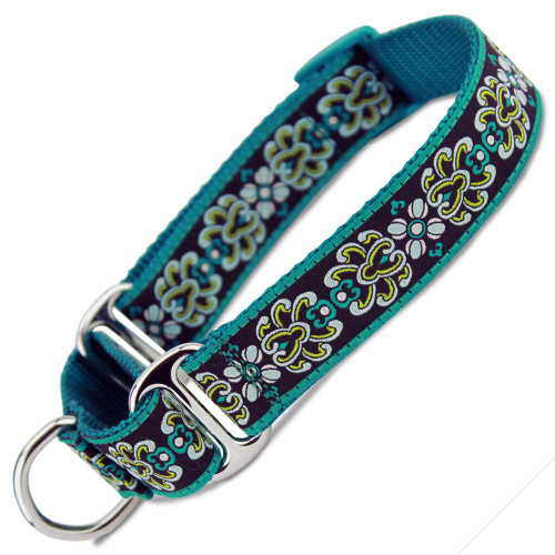 Teal Damask Martingale Collar, Training Collar, Slip on Martingale