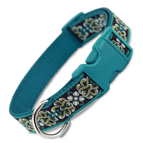 Teal Damask Dog Collar with Teal Buckle