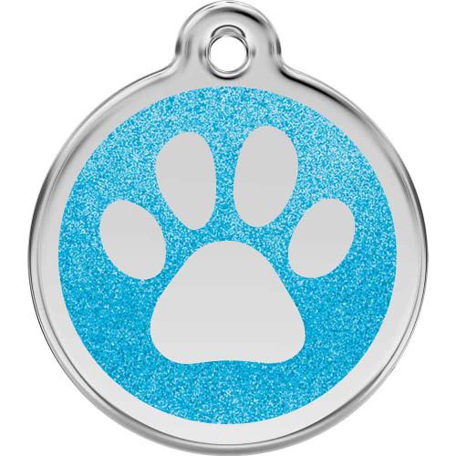 Paw Print Dog ID Tag,  Aqua Glitter Enamel Stainless Steel Name Tag
